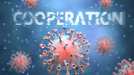 Covid and cooperation, pictured as red viruses attacking word cooperation to symbolize turmoil, global world problems and the relation between corona virus and cooperation, 3d illustration