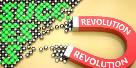 Revolution attracts success - pictured as word Revolution on a magnet to symbolize that Revolution can cause or contribute to achieving success in work and life, 3d illustration