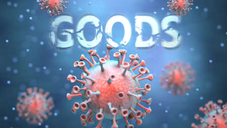 Covid and goods, pictured as red viruses attacking word goods to symbolize turmoil, global world problems and the relation between corona virus and goods, 3d illustration