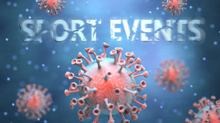 Covid and sport events, pictured as red viruses attacking word sport events to symbolize turmoil, global world problems and the relation between corona virus and sport events, 3d illustration Foto de archivo