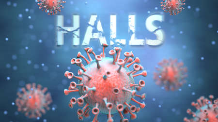 Covid and halls, pictured as red viruses attacking word halls to symbolize turmoil, global world problems and the relation between corona virus and halls, 3d illustration Foto de archivo