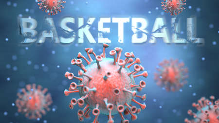Covid and basketball, pictured as red viruses attacking word basketball to symbolize turmoil, global world problems and the relation between corona virus and basketball, 3d illustration