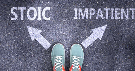 Stoic and impatient as different choices in life - pictured as words Stoic, impatient on a road to symbolize making decision and picking either Stoic or impatient as an option, 3d illustration