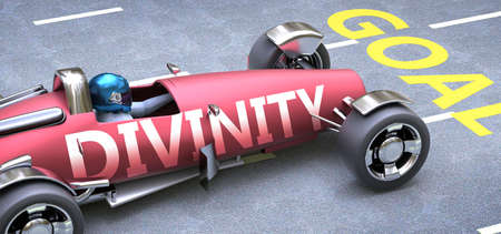 Divinity helps reaching goals, pictured as a race car with a phrase Divinity on a track as a metaphor of Divinity playing vital role in achieving success, 3d illustration