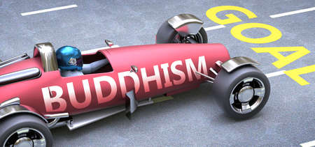 Buddhism helps reaching goals, pictured as a race car with a phrase Buddhism on a track as a metaphor of Buddhism playing vital role in achieving success, 3d illustration