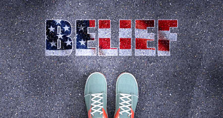 Belief and politics in the USA, symbolized as a person standing in front of the phrase Belief  Belief is related to politics and each person's choice, 3d illustration 版權商用圖片