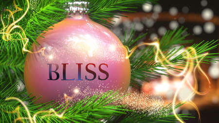 Bliss and Christmas holidays, pictured as a Christmas ornament ball with word Bliss and magic beams to symbolize the connection and importance of Bliss during Xmas, 3d illustration 写真素材