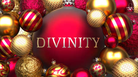 Divinity and Xmas, pictured as red and golden, luxury Christmas ornament balls with word Divinity to show the relation and significance of Divinity during Christmas Holidays, 3d illustration Archivio Fotografico