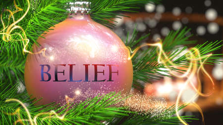 Belief and Christmas holidays, pictured as a Christmas ornament ball with word Belief and magic beams to symbolize the connection and importance of Belief during Xmas, 3d illustration
