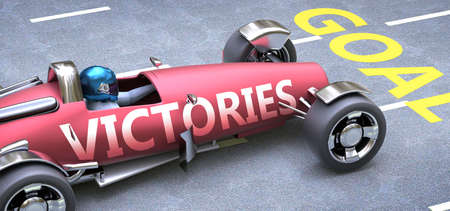 Victories helps reaching goals, pictured as a race car with a phrase Victories on a track as a metaphor of Victories playing vital role in achieving success, 3d illustration