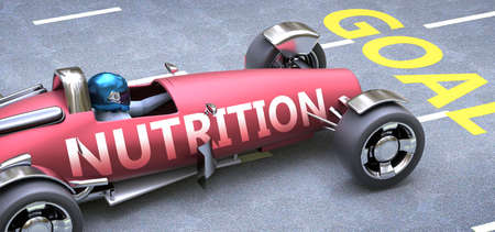 Nutrition helps reaching goals, pictured as a race car with a phrase Nutrition on a track as a metaphor of Nutrition playing vital role in achieving success, 3d illustration