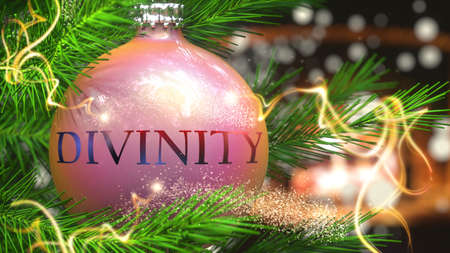 Divinity and Christmas holidays, pictured as a Christmas ornament ball with word Divinity and magic beams to symbolize the connection and importance of Divinity during Xmas, 3d illustration Archivio Fotografico