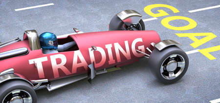 Trading helps reaching goals, pictured as a race car with a phrase Trading as a metaphor of Trading playing important role in getting value and achieving success in life and business, 3d illustration Banco de Imagens