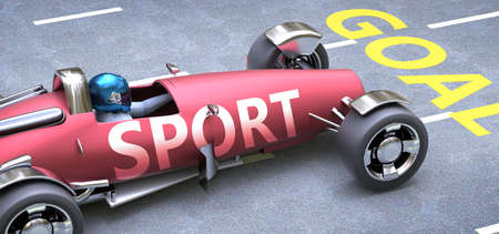 Sport helps reaching goals, pictured as a race car with a phrase Sport as a metaphor of Sport playing important role in getting value and achieving success in life and business, 3d illustration