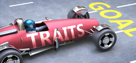 Traits helps reaching goals, pictured as a race car with a phrase Traits as a metaphor of Traits playing important role in getting value and achieving success in life and business, 3d illustration Banco de Imagens