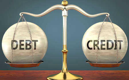 debt and credit staying in balance - pictured as a metal scale with weights and labels debt and credit to symbolize balance and symmetry of those concepts, 3d illustration 免版税图像