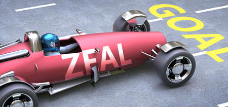 Zeal helps reaching goals, pictured as a race car with a phrase Zeal as a metaphor of Zeal playing important role in getting value and achieving success in life and business, 3d illustration Banco de Imagens