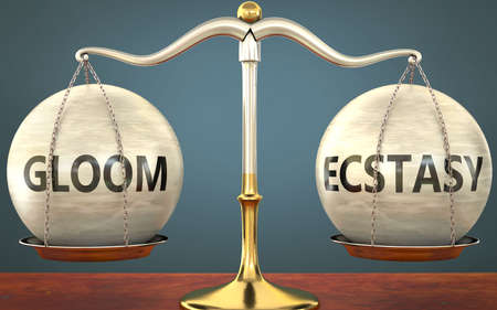 gloom and ecstasy staying in balance - pictured as a metal scale with weights and labels gloom and ecstasy to symbolize balance and symmetry of those concepts, 3d illustration 免版税图像