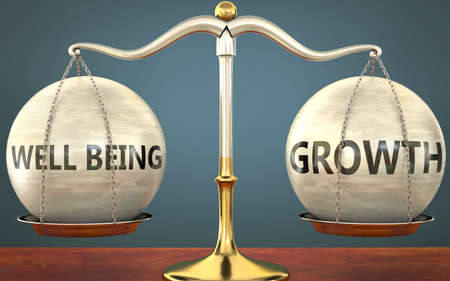 well being and growth staying in balance - pictured as a metal scale with weights and labels well being and growth to symbolize balance and symmetry of those concepts, 3d illustration