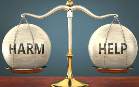 Metaphor of harm and help staying in balance - showed as a metal scale with weights and labels harm and help to symbolize balance and symmetry of harm and help in life or business, 3d illustration 免版税图像