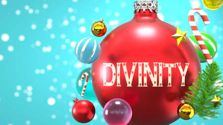 Divinity and Xmas holidays, pictured as abstract Christmas ornament ball with word Divinity to symbolize the connection and importance of Divinity during Christmas Holidays, 3d illustration