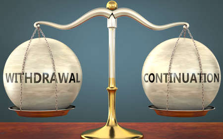 withdrawal and continuation staying in balance - pictured as a metal scale with weights and labels withdrawal and continuation to symbolize balance and symmetry of those concepts, 3d illustration