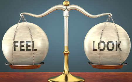 Metaphor of feel and look staying in balance - showed as a metal scale with weights and labels feel and look to symbolize balance and symmetry of feel and look in life or business, 3d illustration