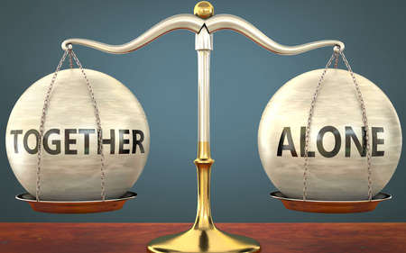 together and alone staying in balance - pictured as a metal scale with weights and labels together and alone to symbolize balance and symmetry of those concepts, 3d illustration Zdjęcie Seryjne