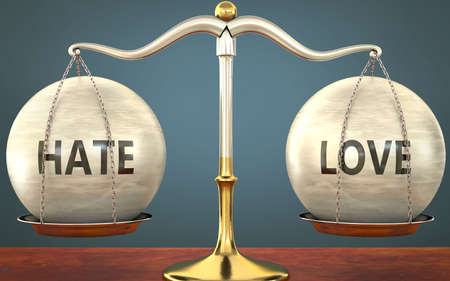 Metaphor of hate and love staying in balance - showed as a metal scale with weights and labels hate and love to symbolize balance and symmetry of hate and love in life or business, 3d illustration