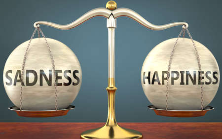 sadness and happiness staying in balance - pictured as a metal scale with weights and labels sadness and happiness to symbolize balance and symmetry of those concepts, 3d illustration