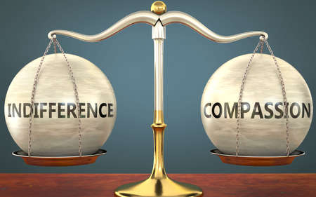 indifference and compassion staying in balance - pictured as a metal scale with weights and labels indifference and compassion to symbolize balance and symmetry of those concepts, 3d illustration Zdjęcie Seryjne