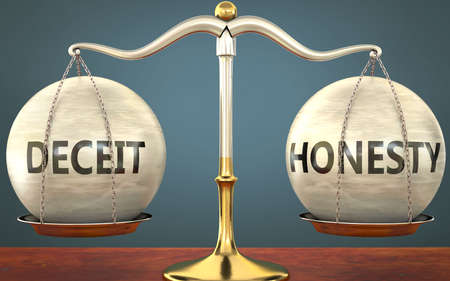 deceit and honesty staying in balance - pictured as a metal scale with weights and labels deceit and honesty to symbolize balance and symmetry of those concepts, 3d illustration