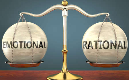 emotional and rational staying in balance - pictured as a metal scale with weights and labels emotional and rational to symbolize balance and symmetry of those concepts, 3d illustration Zdjęcie Seryjne