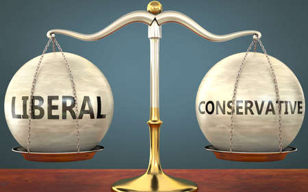 liberal and conservative staying in balance - pictured as a metal scale with weights and labels liberal and conservative to symbolize balance and symmetry of those concepts, 3d illustration Zdjęcie Seryjne