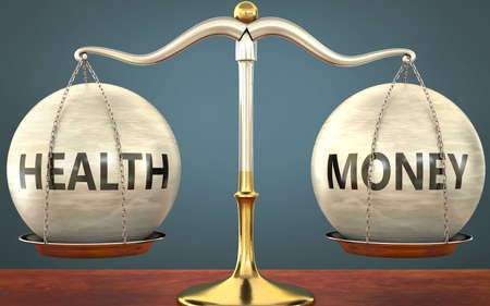 health and money staying in balance - pictured as a metal scale with weights and labels health and money to symbolize balance and symmetry of those concepts, 3d illustration Zdjęcie Seryjne
