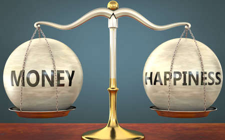 money and happiness staying in balance - pictured as a metal scale with weights and labels money and happiness to symbolize balance and symmetry of those concepts, 3d illustration Zdjęcie Seryjne