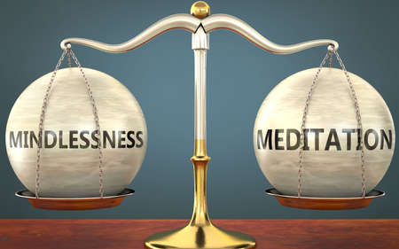 mindlessness and meditation staying in balance - pictured as a metal scale with weights and labels mindlessness and meditation to symbolize balance and symmetry of those concepts, 3d illustration Zdjęcie Seryjne