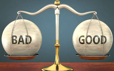 Metaphor of bad and good staying in balance - showed as a metal scale with weights and labels bad and good to symbolize balance and symmetry of bad and good in life or business, 3d illustration