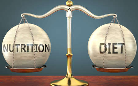 nutrition and diet staying in balance - pictured as a metal scale with weights and labels nutrition and diet to symbolize balance and symmetry of those concepts, 3d illustration