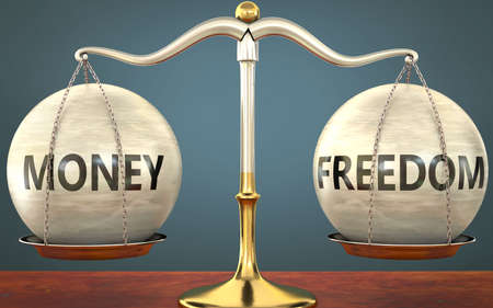 money and freedom staying in balance - pictured as a metal scale with weights and labels money and freedom to symbolize balance and symmetry of those concepts, 3d illustration 免版税图像