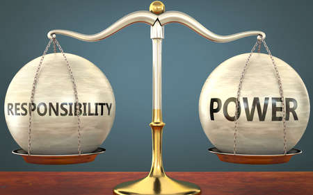 responsibility and power staying in balance - pictured as a metal scale with weights and labels responsibility and power to symbolize balance and symmetry of those concepts, 3d illustration