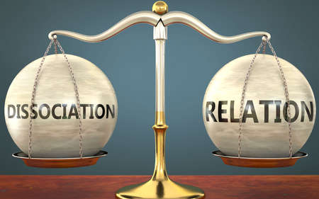 dissociation and relation staying in balance - pictured as a metal scale with weights and labels dissociation and relation to symbolize balance and symmetry of those concepts, 3d illustration