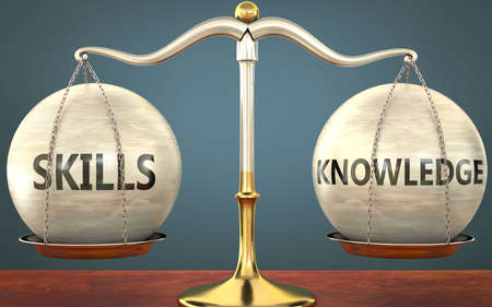 skills and knowledge staying in balance - pictured as a metal scale with weights and labels skills and knowledge to symbolize balance and symmetry of those concepts, 3d illustration