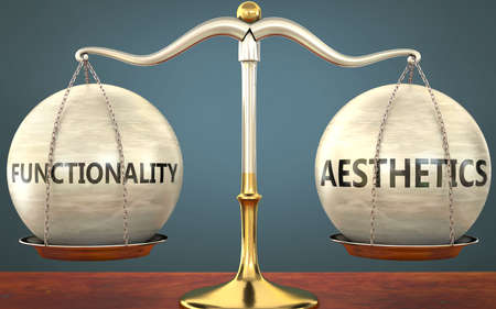 functionality and aesthetics staying in balance - pictured as a metal scale with weights and labels functionality and aesthetics to symbolize balance and symmetry of those concepts, 3d illustration