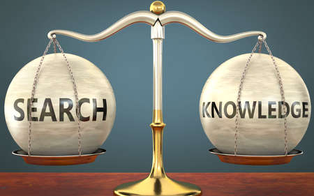 search and knowledge staying in balance - pictured as a metal scale with weights and labels search and knowledge to symbolize balance and symmetry of those concepts, 3d illustration