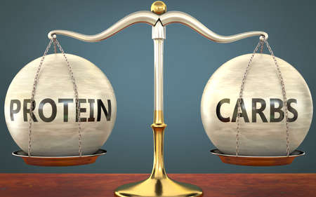 protein and carbs staying in balance - pictured as a metal scale with weights and labels protein and carbs to symbolize balance and symmetry of those concepts, 3d illustration