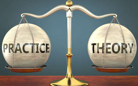 practice and theory staying in balance - pictured as a metal scale with weights and labels practice and theory to symbolize balance and symmetry of those concepts, 3d illustration 免版税图像