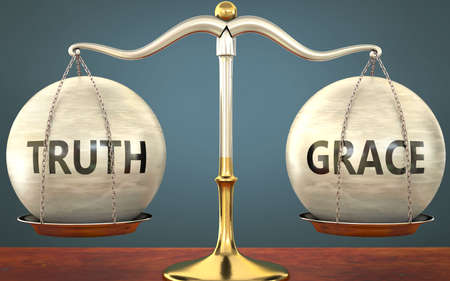 truth and grace staying in balance - pictured as a metal scale with weights and labels truth and grace to symbolize balance and symmetry of those concepts, 3d illustration