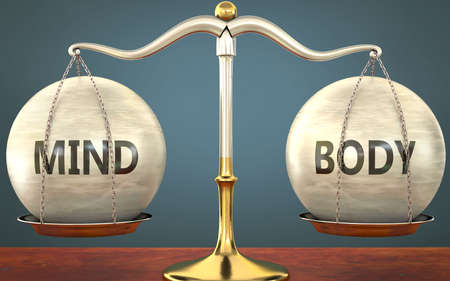 Metaphor of mind and body staying in balance - showed as a metal scale with weights and labels mind and body to symbolize balance and symmetry of mind and body in life or business, 3d illustration 免版税图像