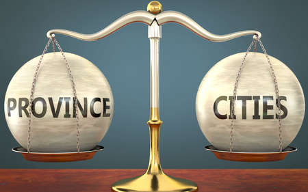 province and cities staying in balance - pictured as a metal scale with weights and labels province and cities to symbolize balance and symmetry of those concepts, 3d illustration 免版税图像